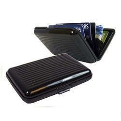Etui na dokumenty RFID i karty kredytowe - Czarne -Aluminiowy Portfel Wallet